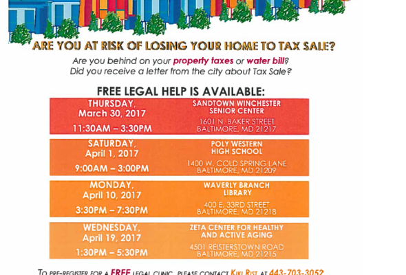 Home Tax Sale Legal Assistance Workshop(s) 2017