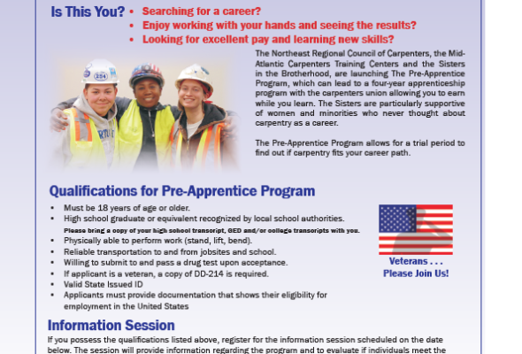Pre-Apprenticeship Opportunity – Northeast Regional Council of Carpenters