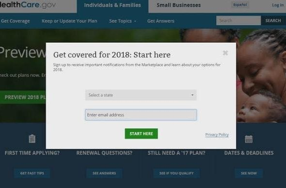 Affordable Care Act enrollment Nov 1, 2017