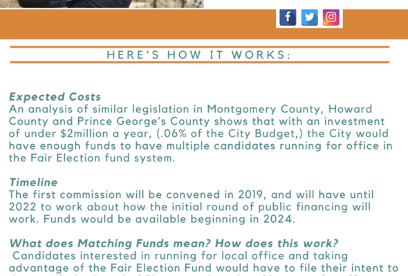 ICYMI Fair Election Fund Baltimore City